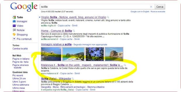 Cattura schermata ricerca Scilla su Google del 23.05.2011