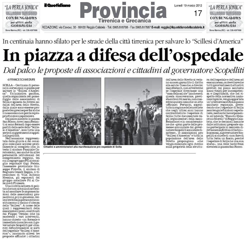 """L'articolo de """"Il Quotidiano della Calabria"""" manifestazione ospedale scilla"""