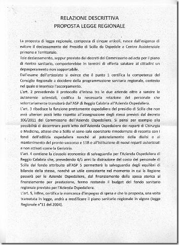 relazione proposta di legge ospedale